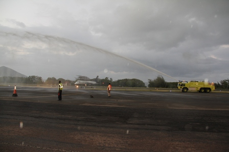 Seaborne Airlines gets a Water welcome at the Vance W. Amory International Airport on January 22, 2014, as the aircraft taxies on the runway