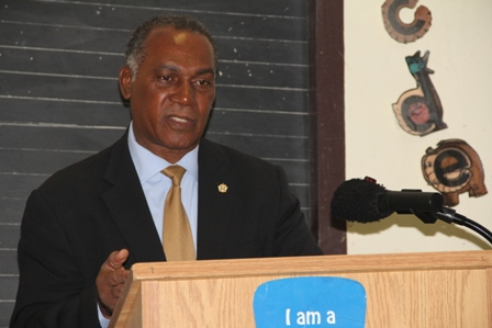 Premier of Nevis and Minister of Education Hon. Vance Amory delivering remarks at the Ministry and Department of Education's Reading Assessment Training workshop at Marion Heights on February 17, 2014