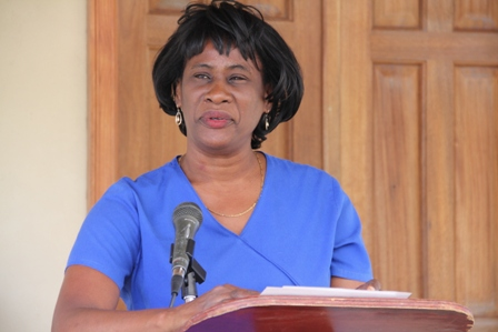 Dr. Patricia Bartlette, veterinarian attached to the Vet Services Department in the Ministry of Agriculture on Nevis, delivering remarks at the ground breaking ceremony for the Veterinary Clinic Expansion project at Prospect Estate on January 30, 2014