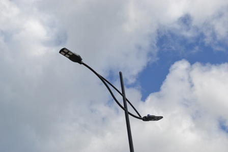 One of the new LED street lights erected on the Samuel Hunkins Drive as part of the Nevis Island Administration's beautification project of the Charlestown Waterfront
