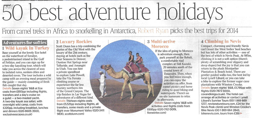 A section of the article written in the London Sunday Times by travel writer Robert Ryan (photo courtesy)