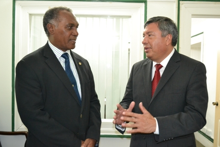 (L-R) Premier of Nevis Hon. Vance Amory with Ambassador of Mexico to the Organisation of Eastern Caribbean States (OECS) countries His Excellency Luis Manuel Lopez Moreno during a courtesy visit at the Nevis Island Administration's Bath Plain offices