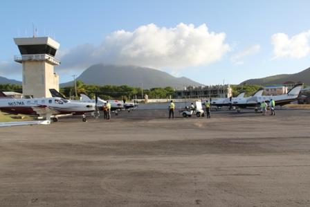 A group of aircrafts escorted to Nevis for the first time by Air Journey at the Vance W. Amory International Airport on January 30, 2014