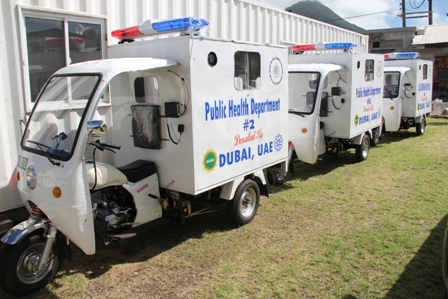 Three tri-ambulettes given to the Ministry of Health on Nevis from Dubai, United Arab Emirates through the Federal Government at the grounds of the Alexandra Hospital on February 24, 2014 for use in the island's delivery of health care