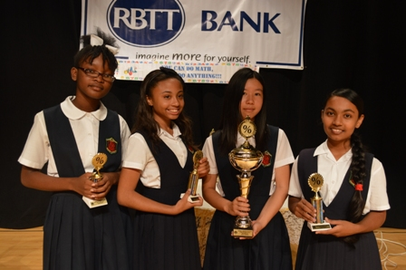 Charlestown Secondary School students (L-R) Ercha Stapleton, Gabriella Brantley, Kelly Zheng and Indra Joylall, winners of the first Lower Secondary School Math Bowl sponsored by the RBC/Royal Bank of Trinidad and Tobago (RBTT) Ltd.