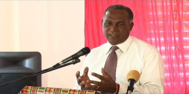 Premier of Nevis and Minister of Education Hon. Vance Amory delivering at the launch of the pilot Education Community Service Initiative on March 17, 2014 at the Charlestown Primary School Cafeteria