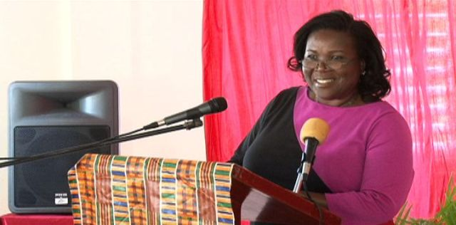 Permanent Secretary in the Ministry of Education Lornette Queeley-Connor delivering remarks at the launch of the pilot Education Community Service Initiative at the Charlestown Primary School cafeteria on March 17, 2014