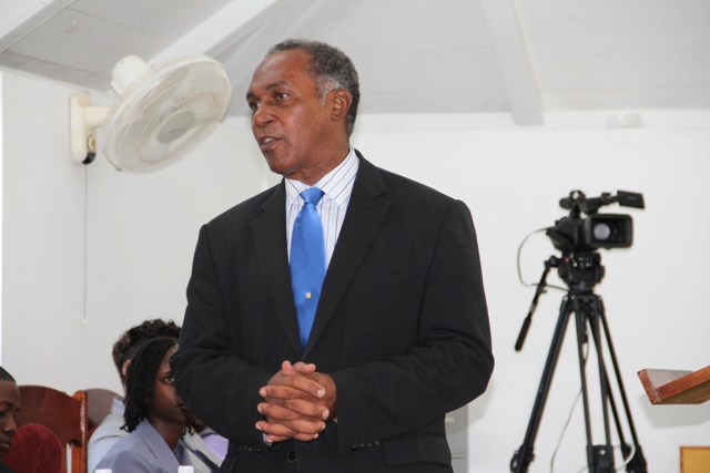 Premier of Nevis Hon. Vance Amory making remarks on conclusion of a sitting of Youth Parliament at the Nevis Island Assembly Chambers on March 10, 2014, in observance of Commonwealth Day