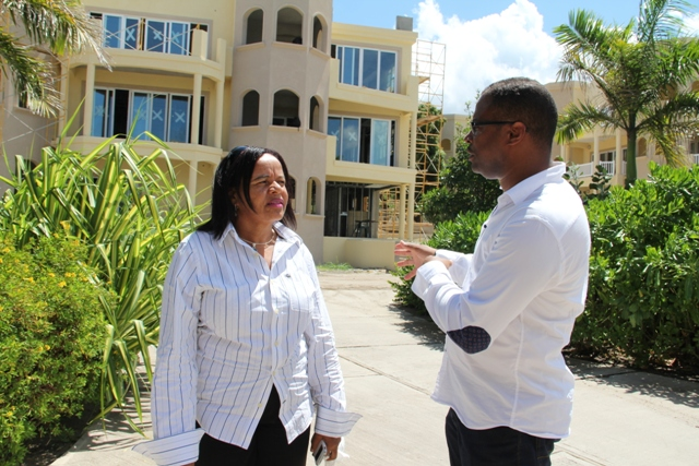 Minister of Tourism in the Nevis Island Administration, Hon. Mark Brantley and General Manager of the Hamilton Beach Villas and Spa Patricia Jeffers on site of the Hamilton Beach Villas and Spa located in Cotton Ground