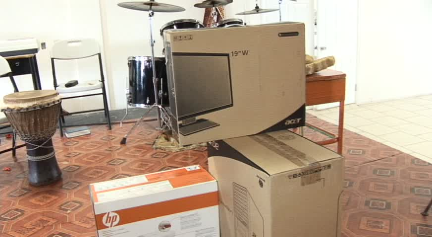 The complete computer system donated to Master Chef Michael Henville for use in the School Meals Programme