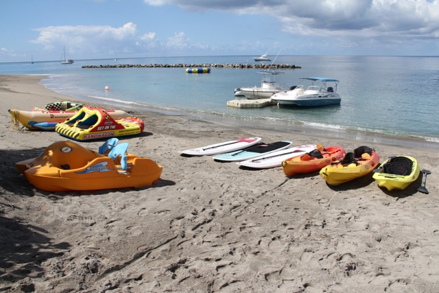 Water sports equipment available to tourists and visitors from Islander Water Sports on Pinneys Beach