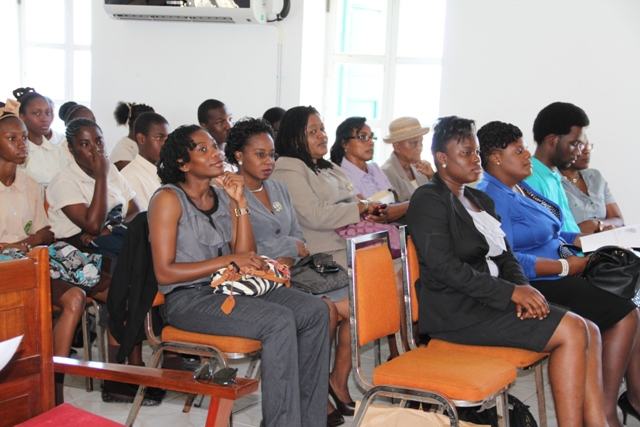 A section of the gallery at the Youth Parliament at the Nevis Island Assembly Chambers on March 10, 2014, at Samuel Hunkins Drive in Charlestown.  Former President and first Clerk of the Assembly Mrs. Morjorie Morton is seated in the second row, extreme right