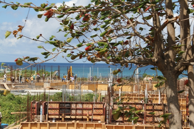 Ongoing construction work on the site of the Residence at Tamarind Cove and Marina Projec