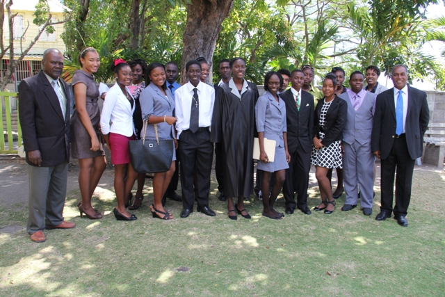 Youth Parliamentarians with President of the Nevis Island Assembly Hon. Farrell Smithen (front extreme left) and Premier of Nevis Hon. Vance Amory (front row extreme right)