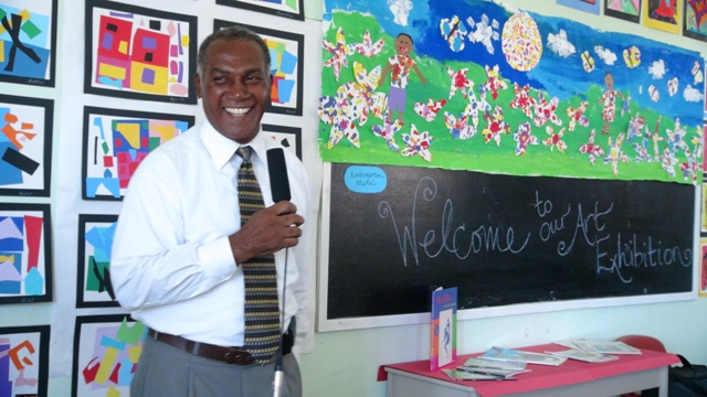 Premier of Nevis and Minister of Education, Hon. Vance Amory at an Art Exhibition at the Elizabeth Pemberton Primary School on March 07, 2014