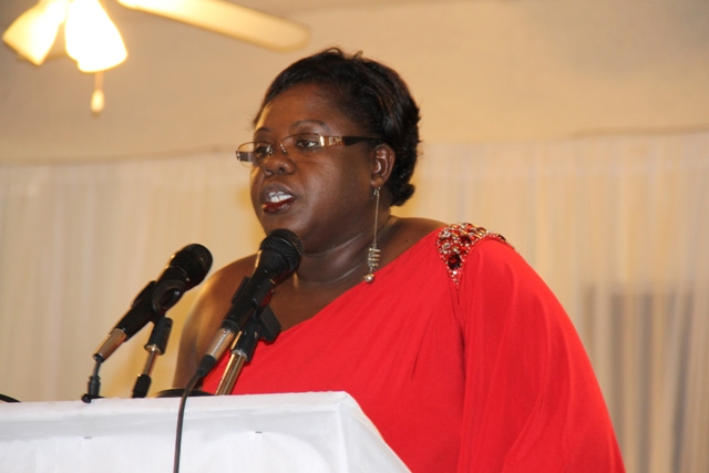 Junior Minister of Youth and Sports on Nevis Hon. Hazel Brandy-Williams delivering remarks at the Department of Youth and Sports Awards Ceremony and Gala on April 26, 2014 at the Occasions Conference Centre at Pinney's Industrial Site