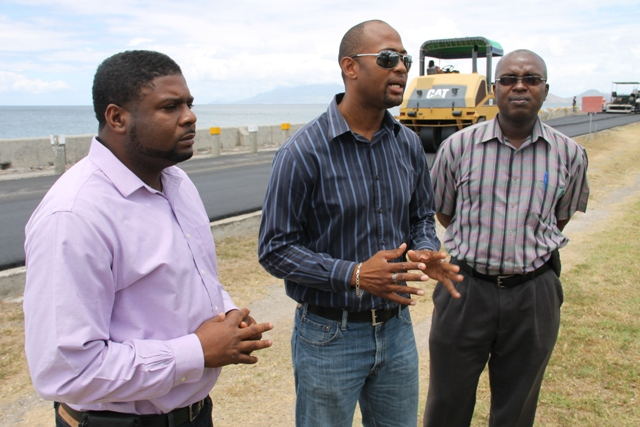 (l-r) Junior Minister of Communication and Works Hon. Troy Liburd, Director of Public Works Diora Raul Pemberton and Permanent Secretary in the Ministry of Communication and Works Ernie Stapleton at the Samuel Hunkins Drive on April 04, 2014