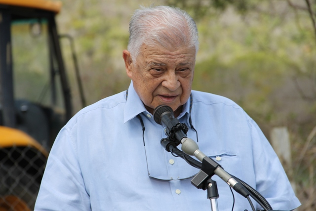 Owner of the Mount Nevis Hotel Dr. Adly Meguid delivering remarks at the ground breaking ceremony for an expansion project of the hotel on April 24, 2014