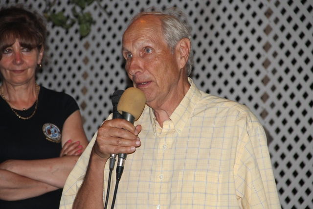 Peter Fuff a representative of Aviation Connection delivering remarks at a cocktail reception at the Lime Beach Bar and Grill at Pinneys Beach, hosted by the Nevis Tourism Authority and the Nevis Air and Sea Ports Authority