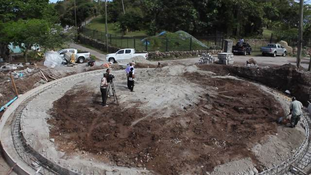 The base for a 500,000 reservoir under construction at Stoney Hill on April 16, 2014, part of the Caribbean Development Bank funded Water Enhancement Project