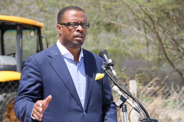 Deputy Premier of Nevis and Minister of Tourism Hon. Mark Brantley delivering remarks at the ground breaking ceremony for the expansion of the Mount Nevis Hotel at Newcastle on April 24, 2014