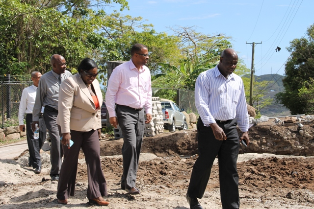 Members of the Nevis Island Administration Cabinet on tour of the Caribbean Development Bank funded Water Enhancement Project on April 16, 2014. (l-r) Hon. Alexis Jeffers, Acting Premier of Nevis Hon. Mark Brantley, Hon. Hazel Brandy-Williams, Cabinet Secretary Stedmond Tross  and  Collin Tyrell Legal Advisor to the Nevis Island Administration