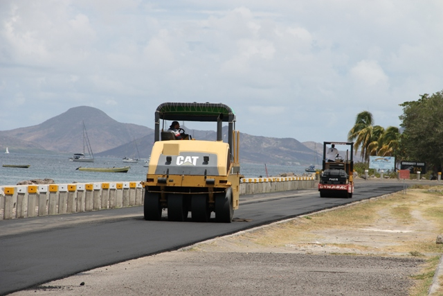 Public Works Department equipment engaged in the resurfacing work in the Samuel Hunkins Drive on April 04, 2014