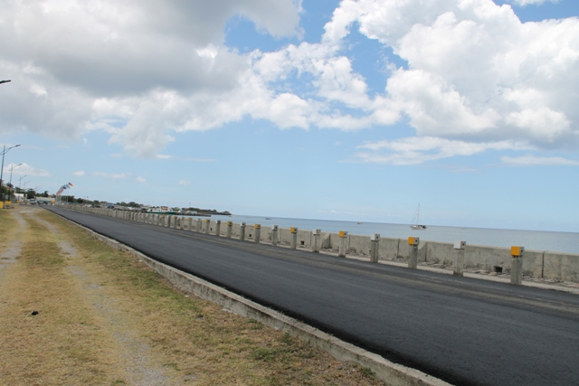 The resurfaced Samuel Hunkins Drive which is part of an ongoing beautification exercise by senior Minister of Communication and Works Hon. Alexis Jeffers with assistance from the Nevis Air and Sea Ports Authority, the Ministry of Tourism, the Nevis Tourism Authority and the Republic of China/ Taiwan