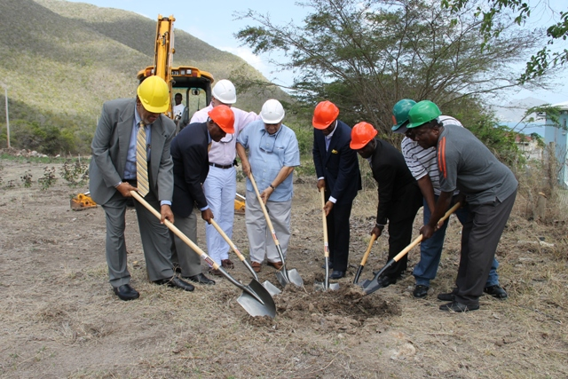 Co-owners of Mount Nevis Hotel Dr. Adly Meguid and Evan Welbourn, members of the Nevis Island Administration and local contractors break ground for the expansion of the Mount Nevis Hotel at Newcastle on April 24, 2014. (L-R) Deputy Governor General His Honour Eustace John, Premier of Nevis Hon. Vance Amory, co-owners of Mount Nevis Hotel Evan Welbourn and Dr. Adly Meguid, Deputy Premier Hon. Mark Brantley, Area Representative Hon. Alexis Jeffers and local contractors