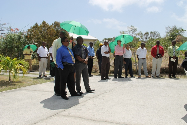 Some of the invited guests on hand to witness the ground breaking on April 24, 2014 to make way for an expansion project for the Mount Nevis Hotel