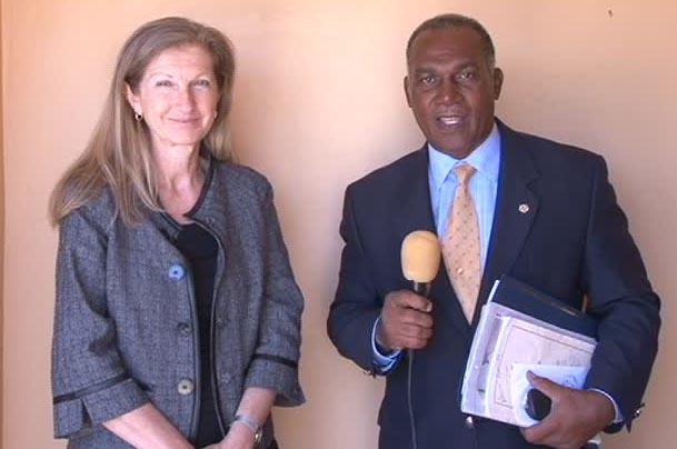 International Monetary Fund Country Representative for St. Kitts and Nevis Ms. Judith Gold and Premier of Nevis and Minister of Finance in the Nevis Island Administration Hon. Vance Amory outside the Ministry of Finance conference room on May 13, 2014