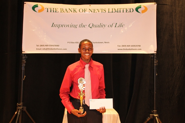 Third place winner in the 2014 Bank of Nevis Ltd. Tourism Youth Congress Cheslin Maloney