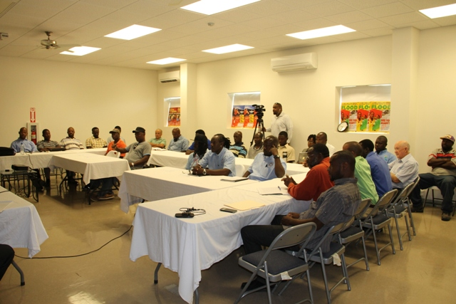 A section of participants at the start of a one-week training session for field workers of the Nevis Water Department, their counterparts in St. Kitts and the Public Works Department on May 27, 2014 in preparation for civil works on the CDB-funded Water Supply and Enhancement Project on Nevis