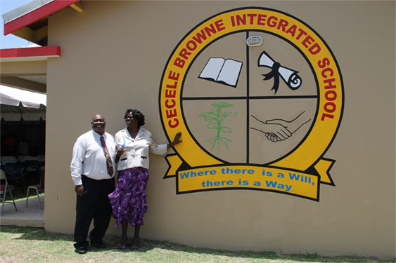 Reverend Cecele Thompson-Browne shares the moment with her husband Reverend James Browne soon after she unveiled the new name of the Special Education Unit named in her honour, as the Cecele Browne Integrated School on April 29, 2014
