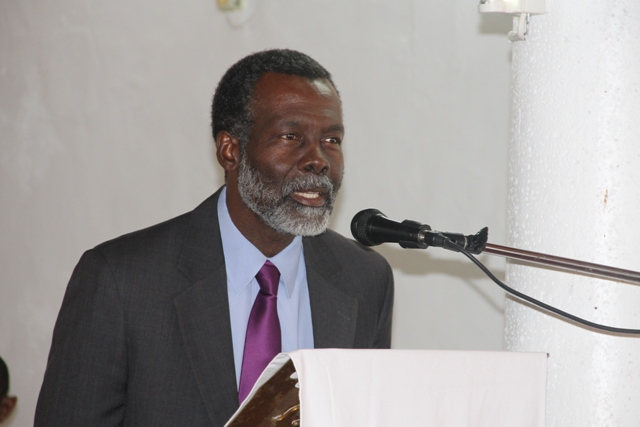 Outgoing Organisation of American States Ambassador to St. Kitts and Nevis His Excellency Starret Greene delivers remarks at a special church service held in his honour at the St. Paul's Anglican Church in Charlestown on June 18, 2014