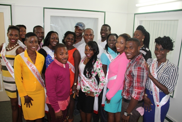 Premier of Nevis Hon. Vance Amory and the contestants for the Culturama 40 Ms. Culture Queen, Ms. Culture Swimwear and Mr. Kool Pageants at his office in Bath Plain during a courtesy call on June 16, 2014