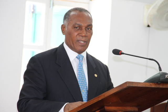 Premier of Nevis and Minister of Finance in the Nevis Island Administration making his presentation at a sitting of the Nevis Island Assembly on June 12, 2014