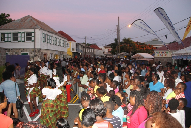 Participants for the Culturama 40 Miss Culture Queen Pageant, the Miss Culture Swimwear and Mr. Kool contests mingle with members of the public after they were officially launched in Charlestown on June 13, 2014