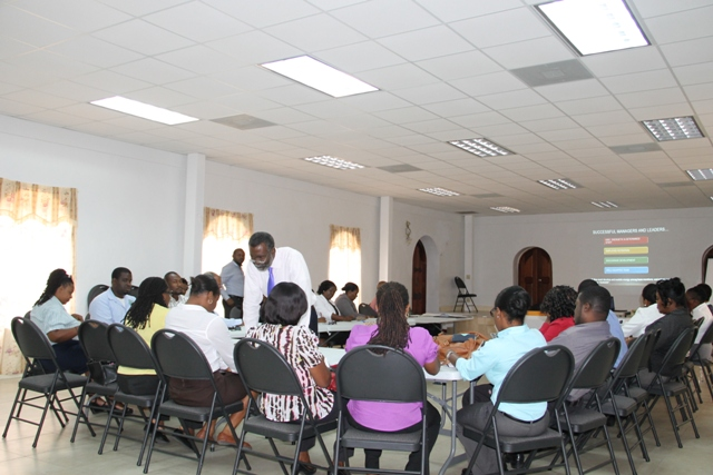 Outgoing Organisation of American States Ambassador to St. Kitts and Nevis His Excellency Starret Greene, conducts a recent seminar with senior members in the Nevis Island Administration at the Emergency Operations Centre in Nevis at Long Point (file photo)