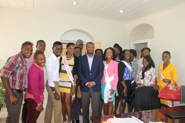 Deputy Premier of Nevis and Minister of Culture Hon. Mark Brantley and the contestants for the Culturama 40 Ms. Culture Queen, Ms. Culture Swimwear and Mr. Kool Pageants at his office in Bath Plain during a courtesy call on June 16, 2014