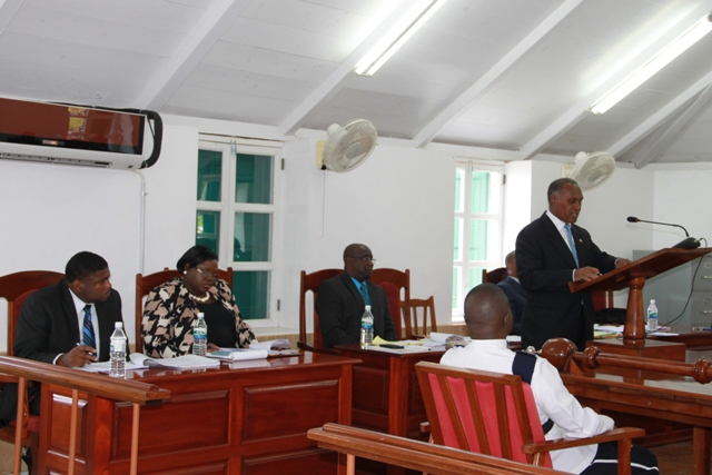 Premier of Nevis and Minister of Finance in the Nevis Island Administration making a presentation with other members of the Nevis Island Administration at a sitting of the Nevis Island Assembly on June 12, 2014