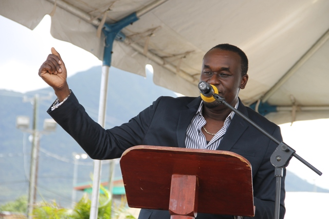 "Founder of Tempo Networks Frederick A. Morton Jr. (""Mr. Tempo"") announcing partnership with Nevis Island Administration at the Ministry and Department of Agriculture's annual Agriculture Open Day on March 26, 2014"