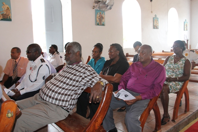 A section of persons in attendance at a special church service held in honour of outgoing Organisation of the American States Ambassador to St. Kitts and Nevis His Excellency Starret Green at the St. Paul's Anglican Church in Charlestown on June 18, 2014