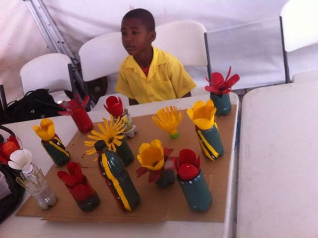 Tershean Wilkinson of the St. Thomas Primary School placed second with his art project made of recyclable materials from Sparkle soda bottles