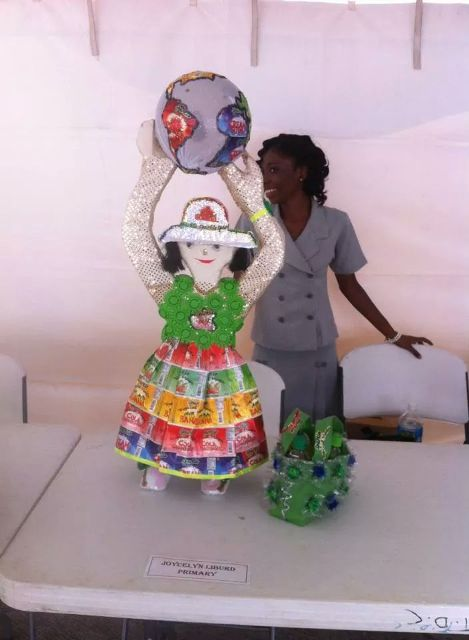 Third place art project was submitted by Destiny Lowe of the Joycelyn Liburd Primary School and was made of recyclable materials from Sparkle soda bottles