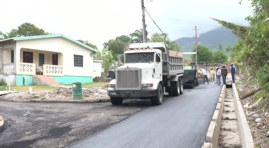 Roadwork on a section of the Hamilton Road by the Ministry of Communications and Works in the Nevis Island Administration through its Public Works Department on June 19, 2014