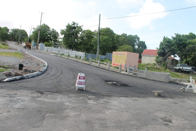 A completed section of the Hamilton Road by the Public Works Department on June 20, 2014, one day after completion