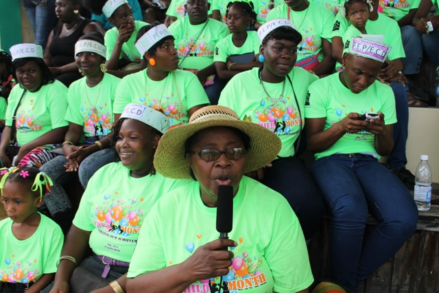 Vanta Walters, former Coordinator for early Childhood Development in St. Kitts and Nevis who served in that position for over 20 years with some of her trainees from St. Kitts whom she brought to Nevis to take part in the 30th anniversary of the Child Month parade on June 06, 2014