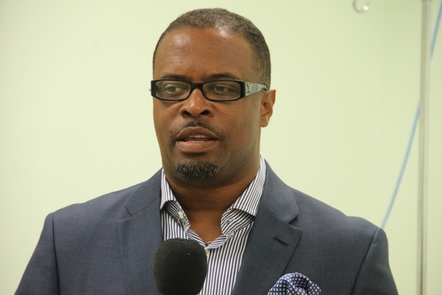 Deputy Premier of Nevis and Minister of Health Hon. Mark Brantley at a welcoming ceremony for Georgia-based Cardiologist/Internist at the Alexandra Hospital on July 07, 2014