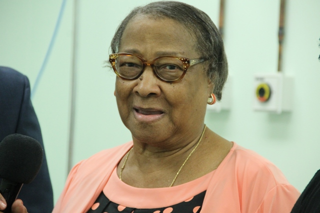 Nevisian Mrs. Ursula Philip based in the United States of America, delivers remarks at a welcoming ceremony on July 07, 2014, at the Alexandra Hospital for Georgia-based Cardiologist/Internist Dr. Charlie Rouse. Both Mrs. Phillip and her daughter Ursula had encouraged Dr. Rouse to come to Nevis to volunteer his services to her homeland